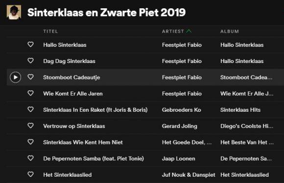 Sinterklaas en Zwarte Piet-playlist op Spotify