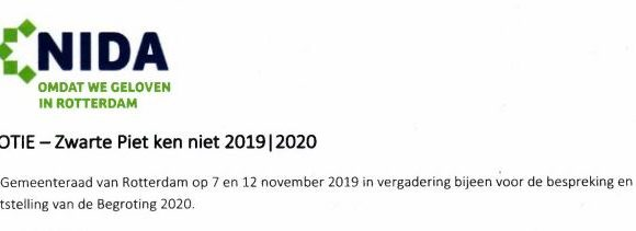 Motie NIDA Rotterdam 'Zwarte Piet ken niet' gestrand