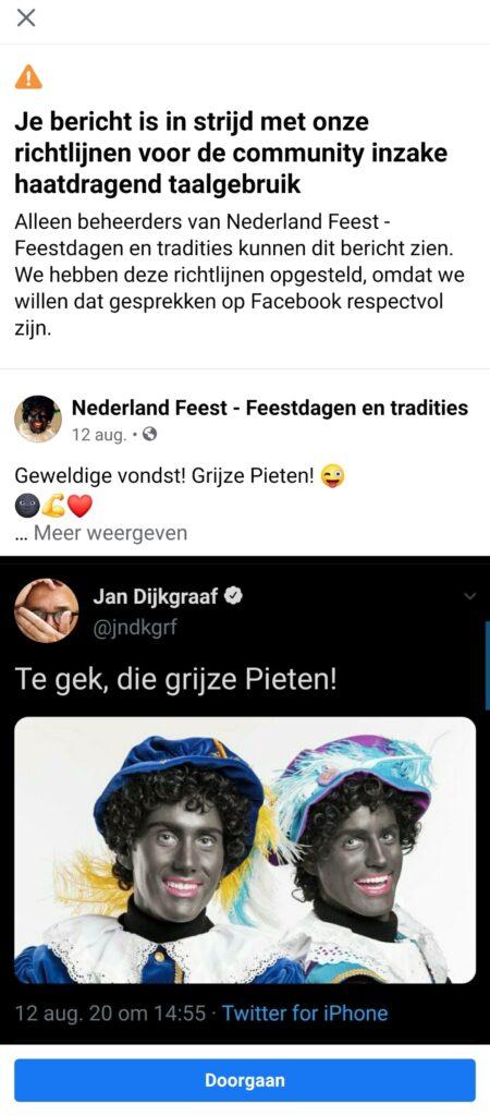 Grijze Piet ook verboden op Facebook
